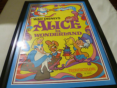 Vintage Framed Original Alice In Wonderland Movie Poster Litho Walt Disney 1974