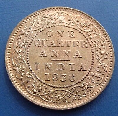 1936(c) India Sans Dot 1/4 Quarter Anna - Uncirculated - 19a