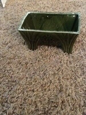 Art Deco Olive Green Footed Planter USA CP-1446