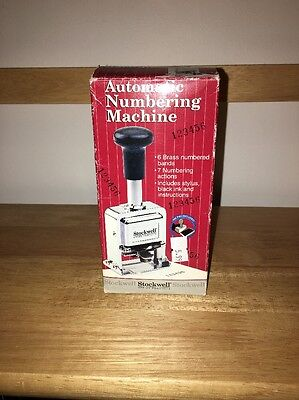 Stockwell 6 Wheel Automatic Numbering Machine in Original Box Lightly Used Cond