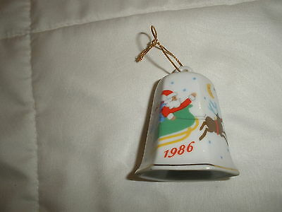 "Collectible Lillian Vernon China, Porcelain 1986 Christmas Bell 2.5""  *g1428"