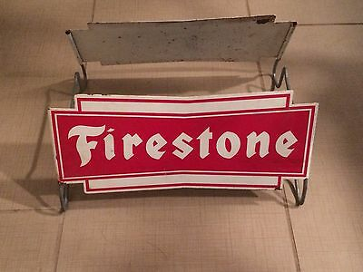 Vintage Firestone Tires Display Sign Antique gas oil ad rack complete two sided