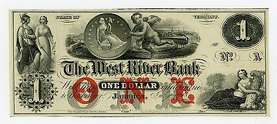 1800's $1 The West River Bank - Jamaica, VERMONT Note CU