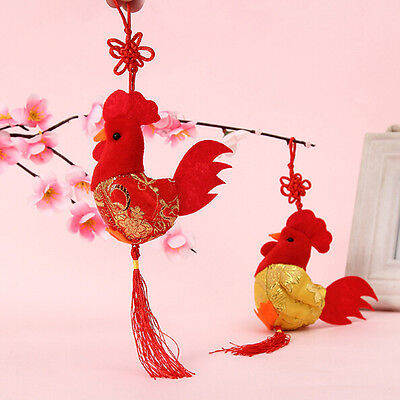 8cm China Wind Plush Chicken Doll Rooster Cock Toy Pendant Wedding Gift Decor