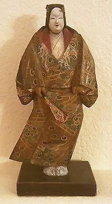 Vintage Japanese Wood Okimono Carved & Hand-painted Noh Actor Figure Signed