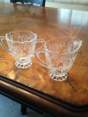 Vintage Fostoria Footed Etched Sugar Bowl And Creamer