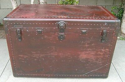 Vintage Hartmann Trunk - Flat Top Opens - Gibraltarized Antique with 1 Key