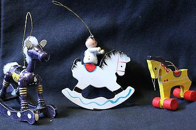 Set of 3 Vintage Christmas Ornaments - Wooden Rocking Horses