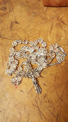 Dreamy Vintage to Antique Cut Crystal and Sterling Silver Rosary Necklace Chain