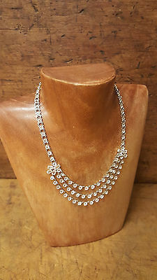 Vintage Sterling Silver Bezel Crystal Festoon Cluster Statement Necklace Choker