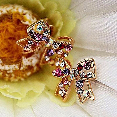 Beautiful Girl Colorful Crystal Rhinestone Gold Bowknot Bow Stud Charm Earrings