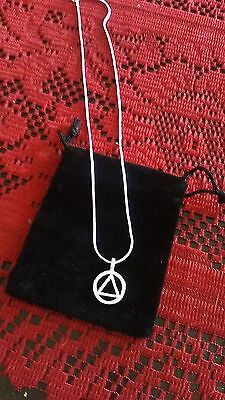 "AA Alcoholics Anonymous necklace 925 sterling silver 18"" chain w/charm; in pouch"