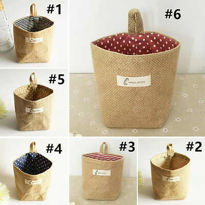 Cotton & Linen Laundry Basket Storage Bag Sundries Handbag Baby Kids Toy Tools