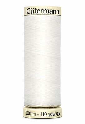Gutermann Sew-all Thread 100m Colour 800 WHITE, 100% Polyester