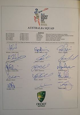 Australia 2015 World Cup Cricket SIGNED ODI sheet. David Warner Steve Smith etc.