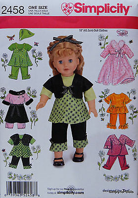 """Simplicity 2458 Sewing PATTERN fits 18"""" American Girl DOLL CLOTHES w/ 7 Outfits"""