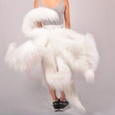 LOL League of Legends Nine-Tailed Fox Ahri tail plush cosplay prop Fur white