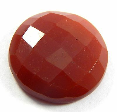 24.50 Ct Natural Faceted Carnelian 22 Mm Round Shape Loose Gemstone