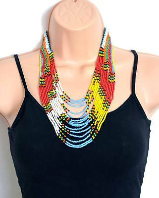 African Masai Tribal Chunky Necklace, Ethnic Handmade  Mother's Day Gift