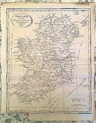 1802 100% Original Large Ireland Map By  J Russell