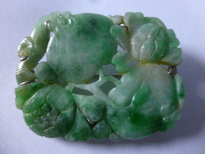 Chinses Antique Carved Jade Stone Brooch
