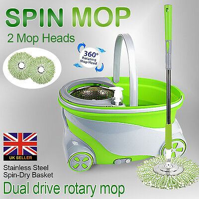 Magic Mop 360° Spinning Stainless Steel Spin Bucket 2 Microfibre Mop Heads