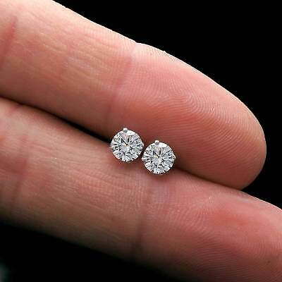 1ct Round Cut Created Diamond Earrings 14K White Gold Solitaire Screwback Studs