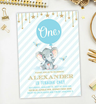 Baby Elephant First Birthday Invitation Blue Gold Boy Party Invite Twinkle Star