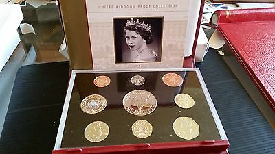 2002 Uk Royal Mint Deluxe Proof Coin Collection In Red Leather Case & Coa