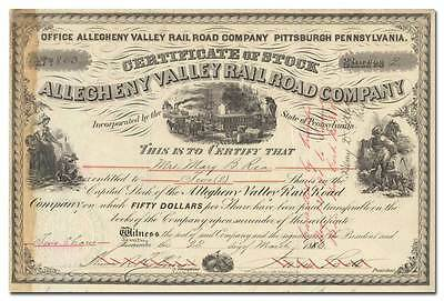 Allegheny Valley Rail Road Company Stock Certificate (Dated 1886)