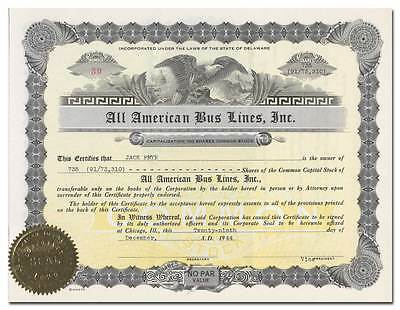 All American Bus Lines, Inc. Stock Certificate (Chicago)