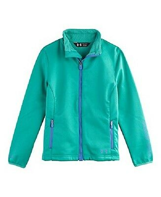 $100 Under armour Cold Gear Infrared Blue Green Jacket size YSM 7/8 New w/tag