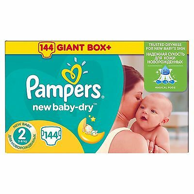 Pampers couches New Baby dry  (3-6 kg) carton de 144 pieces