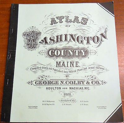 Map Atlas 1881 Old Town Maps of Washington County Maine