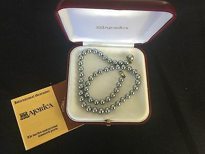 """Majorica Simulated Pearl necklace 19"""" with box Great Condition- Grey Blue Pink"""