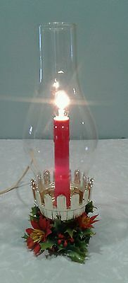 Christmas Electric Candle Hurricane Lamp in Boxes Vintage (Timco)