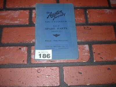 Genuine Austin Twenty 20 Illustrated Spare Parts Book.1933 Book.