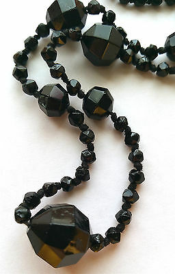 """Antique Old Victorian Whitby Jet Necklace, Faceted Beads. 23"""" Long."""