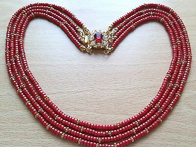 """Beautiful Vintage Red Keshi Coral Necklace, 4 rows. 18 1/2"""" long."""