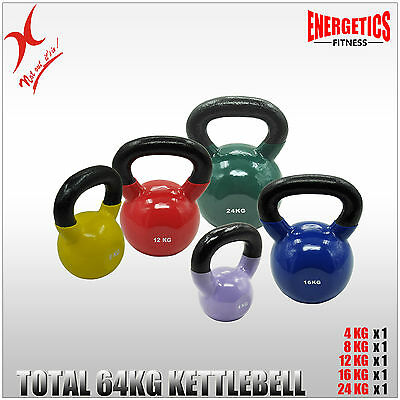 4Kg + 8Kg + 12Kg + 16Kg + 24Kg =Total 64Kg Iron Vinyl Kettlebell Weight Training