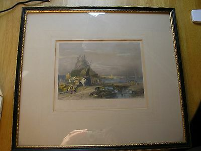 Antique Hand Coloured Engraving - Castle of Holy Island