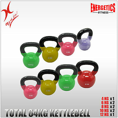4KG + 6KGx2 + 8KGx2 + 10KGx2 + 12KG =TOTAL 64KG IRON VINYL KETTLEBELL GYM WEIGHT