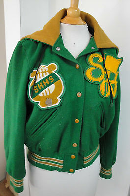 VTg DeLong VARSITY JACKET zip Hood High School SHHS Band Choir GREEN WOOL