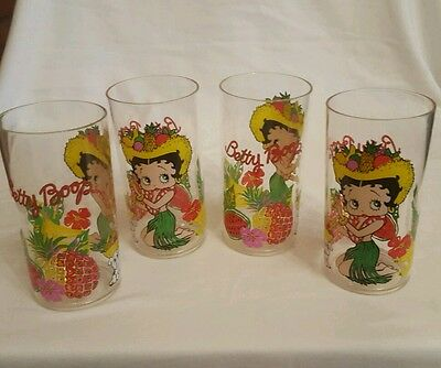 Betty Boop Luau Acrylic Drinking Glasses, Set of 4