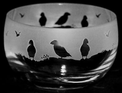 PUFFIN GIFT ~ Boxed 12.5cm CRYSTAL GLASS SWEET BOWL with PUFFIN Frieze