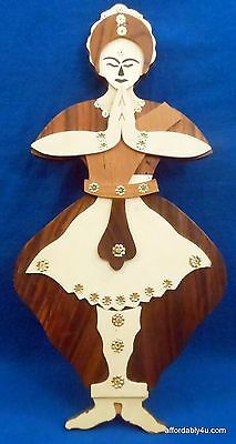 Hindu Dancer India Carved Wood Folk Art Wooden Ethnic Wall Carving Plaque 18""