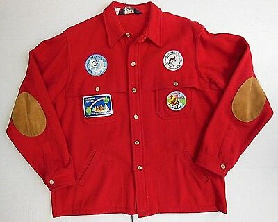 Vintage Boy Scout Red Wool Shirt Jacket Coat with 7 Patches--Woolrich