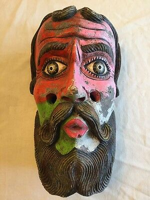 Vintage Moro Moor Christian Guatemala Mexico Dance Mask Grotesque Hand Carved