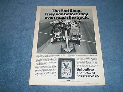 1975 Valvoline Motor Oil Vitnage Ad with The Rod Shop Racing Team and TV Tom Ivo