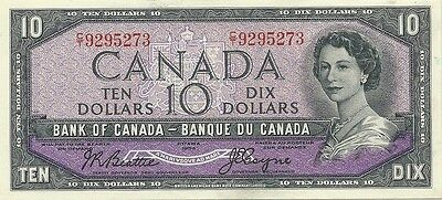 BANK OF CANADA $10 1954 ~ BEATTIE-COYNE ~ BC-40a ~ GEM CRISP UNCIRCULATED NOTE